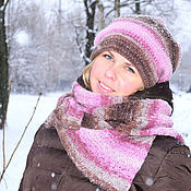 "Аксессуары ручной работы. Ярмарка Мастеров - ручная работа ""Beyond the Invisible"" комплект: двойная зимняя шапка + палантин. Handmade."