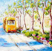"""Картины и панно ручной работы. Ярмарка Мастеров - ручная работа Картина """"Весенний трамвай"""" холст масло оргалит 20х30 см. Handmade."""