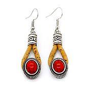 Украшения handmade. Livemaster - original item Earrings made from oak red womens handmade Br0003w. Handmade.