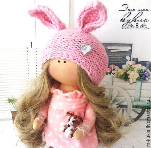 Куклы тыквоголовки ручной работы. Ярмарка Мастеров - ручная работа. Купить Малышка с той-терьером. Handmade. Розовый, кукла интерьерная
