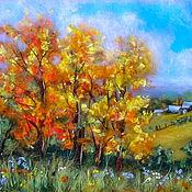 Картины и панно handmade. Livemaster - original item Wool Painting Warm Autumn. Handmade.