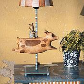 """Для дома и интерьера ручной работы. Ярмарка Мастеров - ручная работа Лампа """"Свинка и тапир"""". Handmade."""
