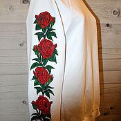 handmade. Livemaster - original item Sweatshirt sweatshirt hoodie with roses on the sleeve hand painted. Handmade.
