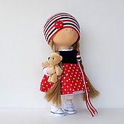 Кукла интерьерная. Кукла текстильная. Девочка с медведем