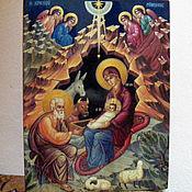 Картины и панно handmade. Livemaster - original item christmas icon written hot colors on the tree. Handmade.