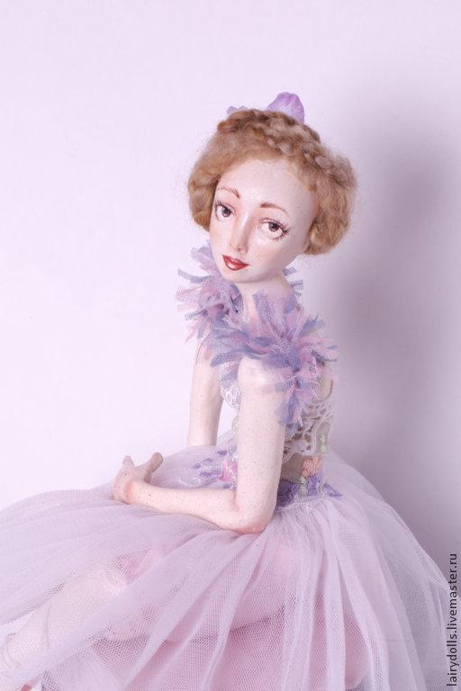 Коллекционные куклы ручной работы. Ярмарка Мастеров - ручная работа. Купить Балеринка Хризантема. Handmade. Бледно-сиреневый, авторская кукла