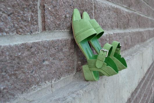 Обувь ручной работы. Ярмарка Мастеров - ручная работа. Купить Босоножки женские. Handmade. Салатовый, минимализм