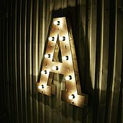 Дизайн и реклама ручной работы. Ярмарка Мастеров - ручная работа Ретро Буквы с подсветкой. Handmade.