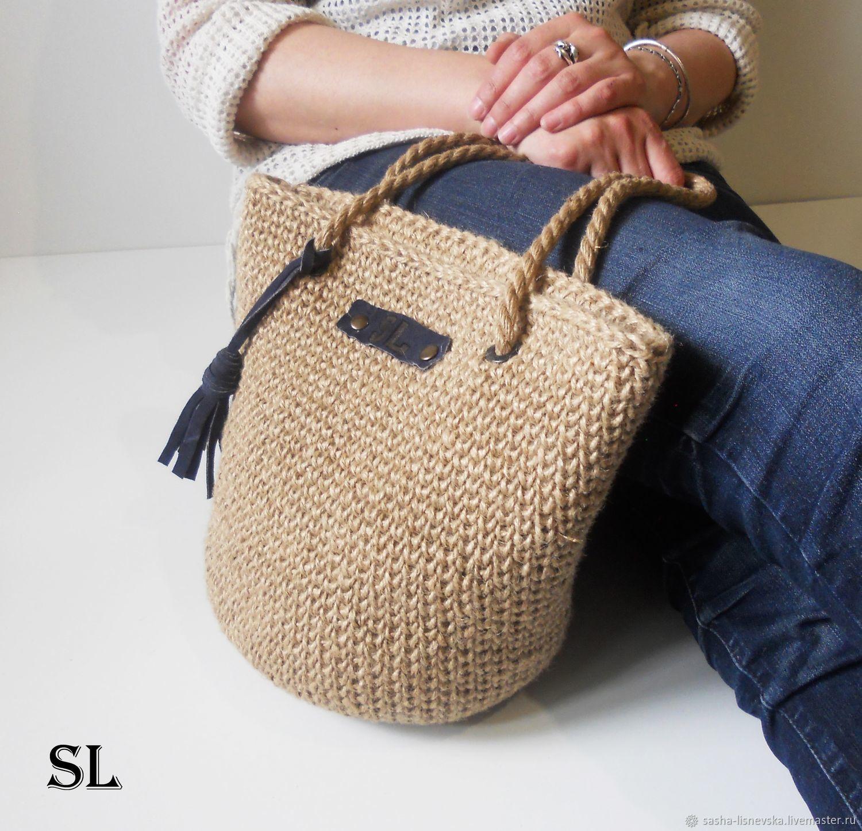 Женские сумки ручной работы. Ярмарка Мастеров - ручная работа. Купить Сумка  вязаная из джута ... c53ba80633d