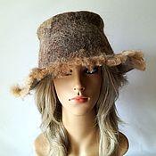 Аксессуары handmade. Livemaster - original item Beige felt hat with brim, warm merino and alpaca wool hat. Handmade.