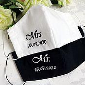 Аксессуары handmade. Livemaster - original item Wedding masks for the bride and groom with embroidery. Handmade.