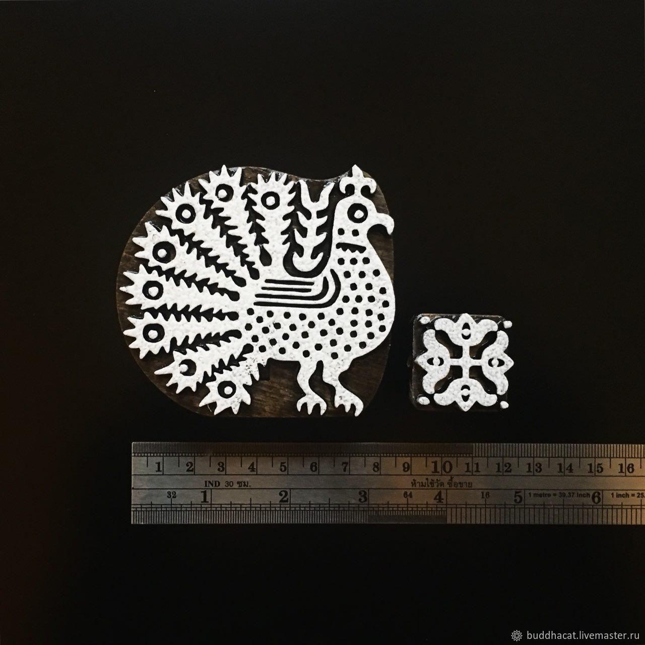 Штамп для печати на ткани ПАВЛИН + орнамент, Инструменты, Санкт-Петербург, Фото №1