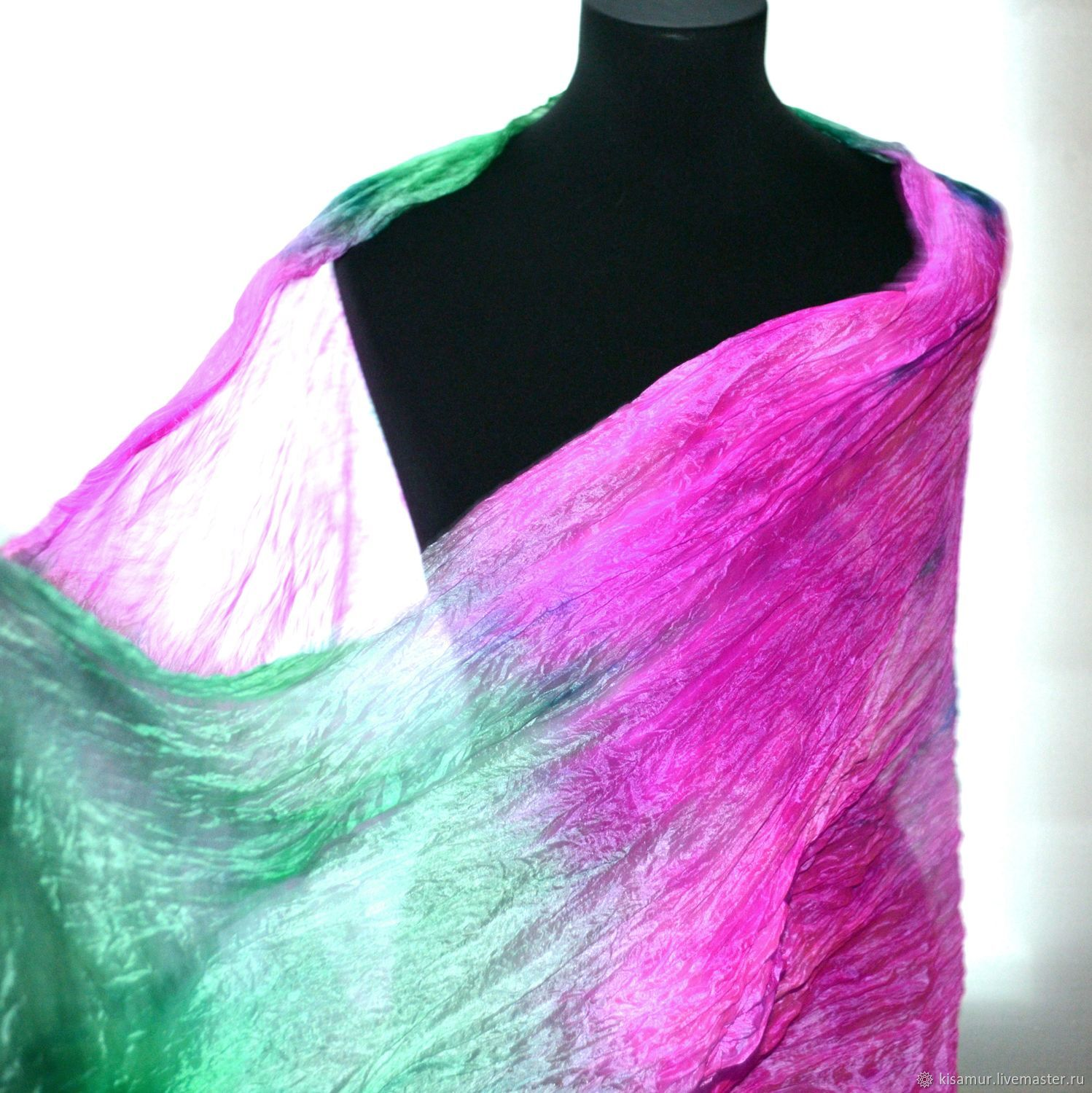 Scarves handmade. Livemaster - handmade. Buy silk emerald green and fuchsia  pink c239d2a13