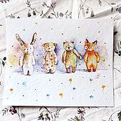 Картины и панно ручной работы. Ярмарка Мастеров - ручная работа Плюшевые малютки - картина акварелью. Handmade.