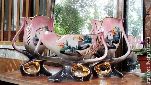 Винтажные предметы интерьера. Ярмарка Мастеров - ручная работа. Купить Сет старинных фарфоровых ваз. Handmade. Вазы, антикварные вазы