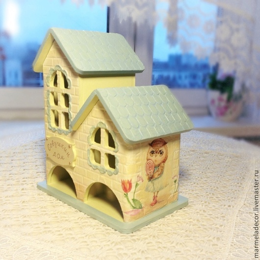 Кухня ручной работы. Ярмарка Мастеров - ручная работа. Купить Набор двойной чайный домик и салфетница Совушкин дом. Handmade.