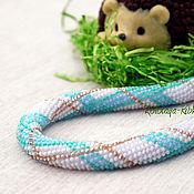 Украшения handmade. Livemaster - original item Harness the Hedgehog bead Stripes blue necklace. Handmade.