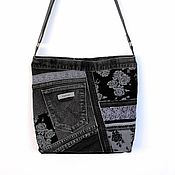 Сумки и аксессуары ручной работы. Ярмарка Мастеров - ручная работа Джинсовая сумка серо-черная из коллекции Пэчворк на каждый день. Handmade.