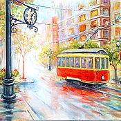 """Картины и панно ручной работы. Ярмарка Мастеров - ручная работа Картина """"Трамвай и часы - романтичный дуэт"""". Handmade."""