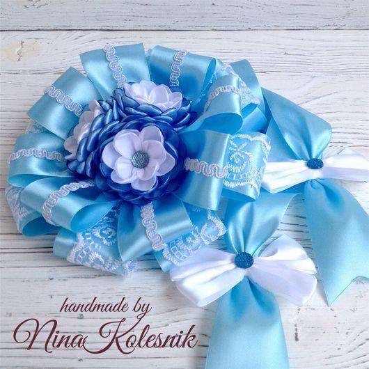 Для новорожденных, ручной работы. Ярмарка Мастеров - ручная работа. Купить Бант голубой для новорожденного на выписку из роддома. Handmade.