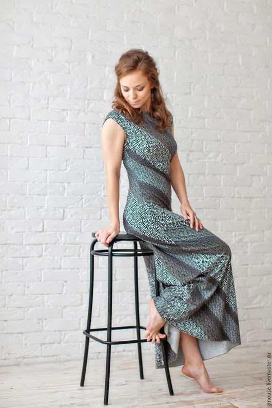 Платья ручной работы. Ярмарка Мастеров - ручная работа. Купить Платье макси СИЛУЭТ. Handmade. Коричневый, трикотажное платье