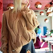 Одежда handmade. Livemaster - original item Jerseys: Women`s knitted sweater with braids in the color of camel wool. Handmade.