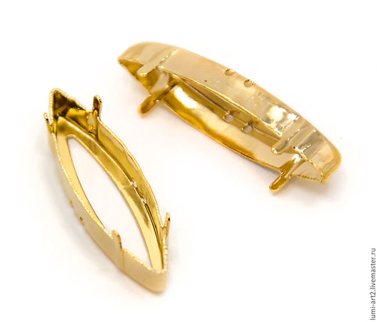 Для украшений ручной работы. Ярмарка Мастеров - ручная работа. Купить Оправа 35х9.5 золото для Sphinx Eyes Сваровски цапы для кристаллов. Handmade.