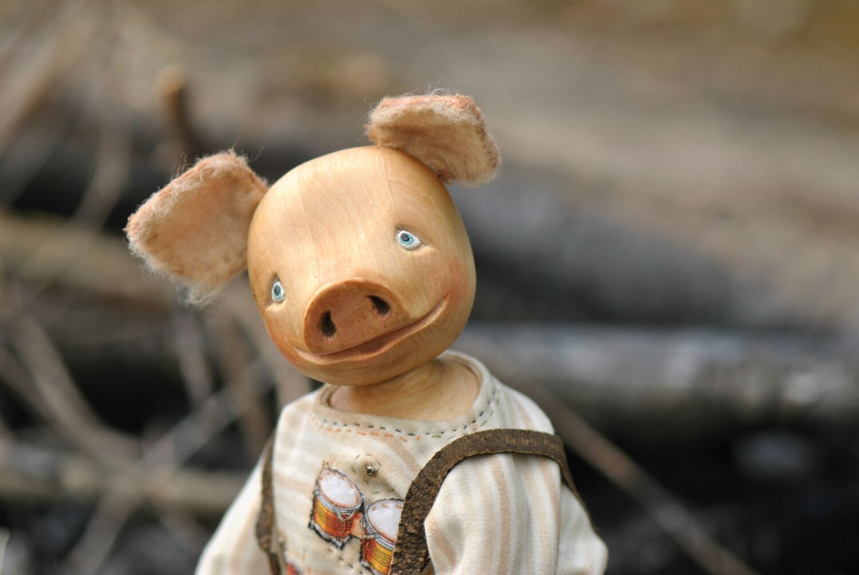 Поросенок Тью.Деревянная будуарная кукла, Куклы и пупсы, Санкт-Петербург,  Фото №1