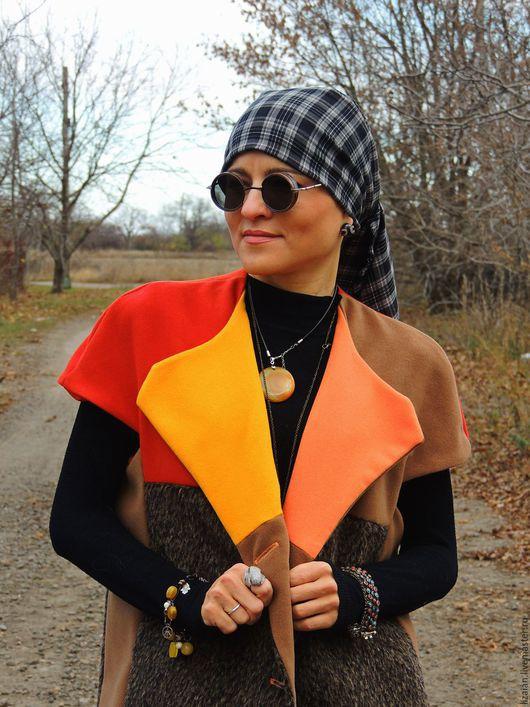 жилет длинный, городской стиль, жилет теплый, пиджак женский, пальто женское, пальто яркое