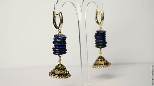 """Серьги ручной работы. Ярмарка Мастеров - ручная работа. Купить Серьги """"Jumika"""". Handmade. Тёмно-синий, нарядные серьги, jewelry"""