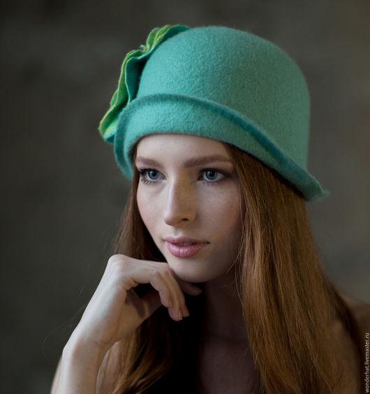 """Шляпы ручной работы. Ярмарка Мастеров - ручная работа. Купить Шляпка """"Рассветный ветерок"""". Handmade. Мятный, шляпа, шляпка из шерсти"""