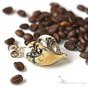 Украшения ручной работы. Ярмарка Мастеров - ручная работа Кулон Любовь к кофе серебро 925 сердце стекло цветок кремовый. Handmade.