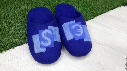 Обувь ручной работы. Ярмарка Мастеров - ручная работа. Купить Тапочки для мужчины. Handmade. Комбинированный, тапочки валяные, тепло, кожа