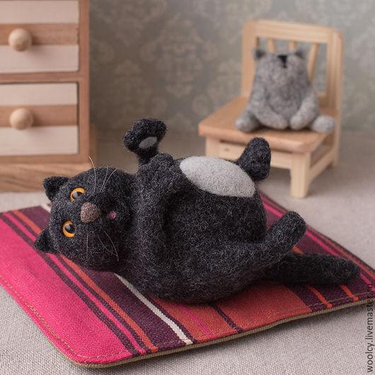 Игрушки животные, ручной работы. Ярмарка Мастеров - ручная работа. Купить Валяный кот Федот. Handmade. Черный, котик
