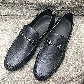 Обувь ручной работы handmade. Livemaster - original item Ostrich leather loafers, in black, available.. Handmade.