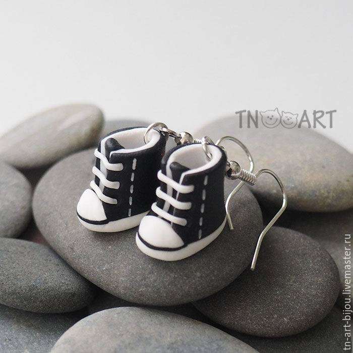 Earrings 'Sneakers' (black and white), Earrings, Sochi,  Фото №1