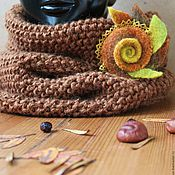 Аксессуары handmade. Livemaster - original item Snood Walnut with brooch. Handmade.