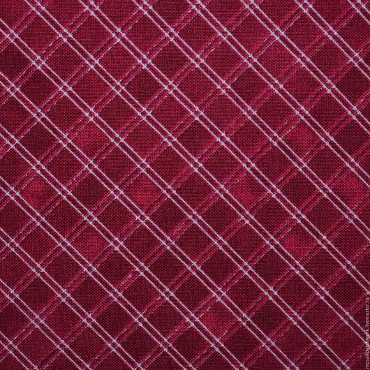 """Шитье ручной работы. Ярмарка Мастеров - ручная работа. Купить Хлопок ткань для пэчворка """"Клеточка на темно-красном"""". Корея. Handmade."""