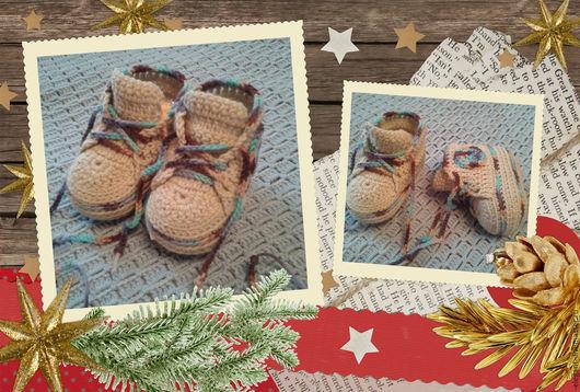 Для новорожденных, ручной работы. Ярмарка Мастеров - ручная работа. Купить Пинетки-ботиночки. Handmade. Пинетки, для детей, детская обувь