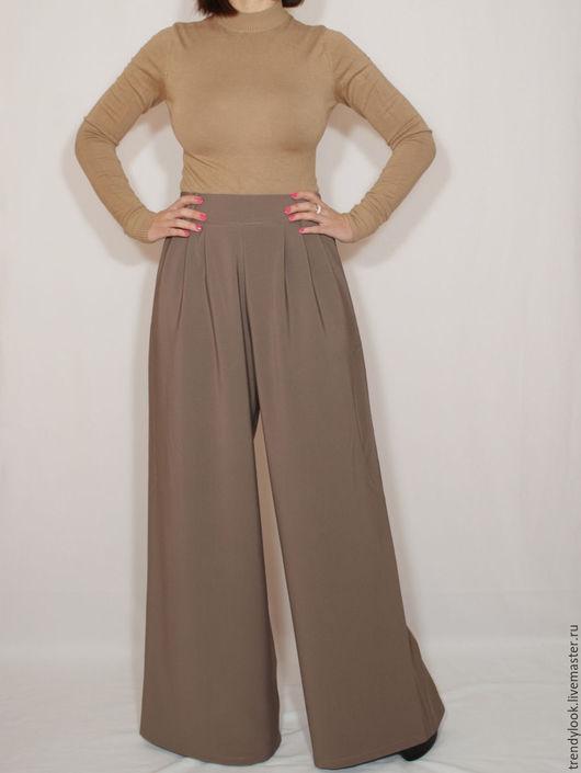 Брюки, шорты ручной работы. Ярмарка Мастеров - ручная работа. Купить Широкие брюки женские, цвет кофе с молоком,офисный стиль. Handmade.