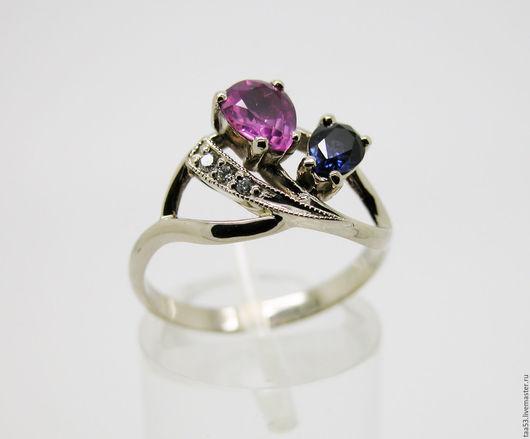 Кольца ручной работы. Ярмарка Мастеров - ручная работа. Купить Золотое кольцо с Сапфирами и бриллиантами.. Handmade. Золото 585