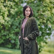Одежда handmade. Livemaster - original item cardigans: Women`s knitted long cardigan in khaki oversized. Handmade.