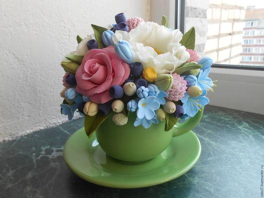 Интерьерные композиции ручной работы. Ярмарка Мастеров - ручная работа. Купить Цветы в чашечке. Handmade. Комбинированный, цветы ручной работы