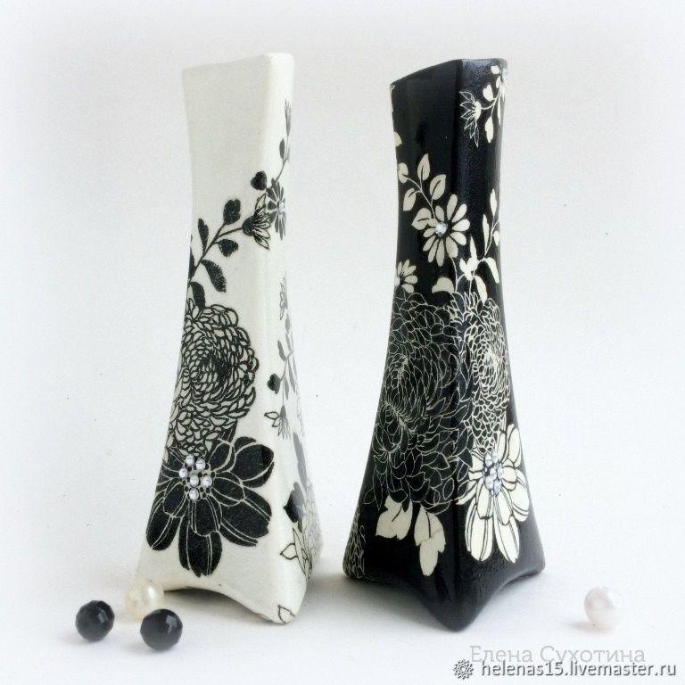 Вазочки Черное и белое Декупаж Маленькие коллекционные вазочки