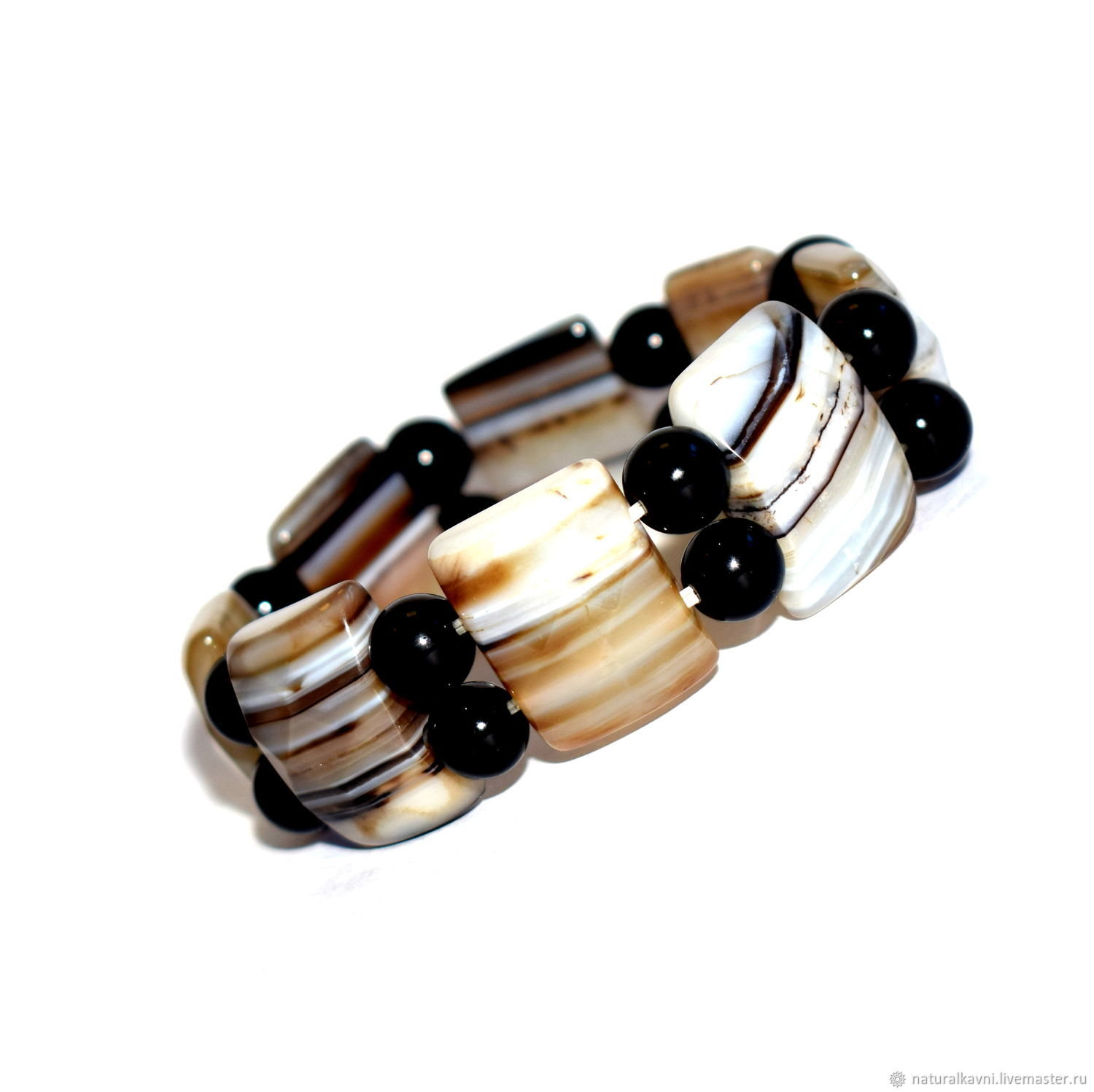 Bracelet made of natural black agate, Bead bracelet, Moscow,  Фото №1
