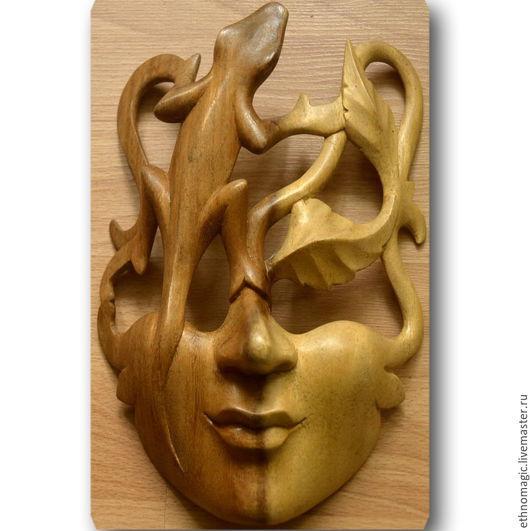 Интерьерные  маски ручной работы. Ярмарка Мастеров - ручная работа. Купить Маска настенная из дерева Ящелик. Handmade. Панно на стену