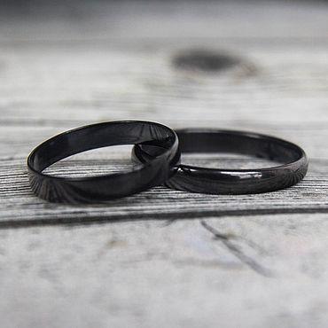 Свадебный салон ручной работы. Ярмарка Мастеров - ручная работа Чёрные обручальные кольца из титана. Необычные металлические кольца. Handmade.