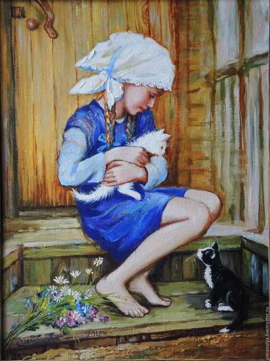 Люди, ручной работы. Ярмарка Мастеров - ручная работа. Купить Девочка с котятами. Handmade. Синий, кошка, холст