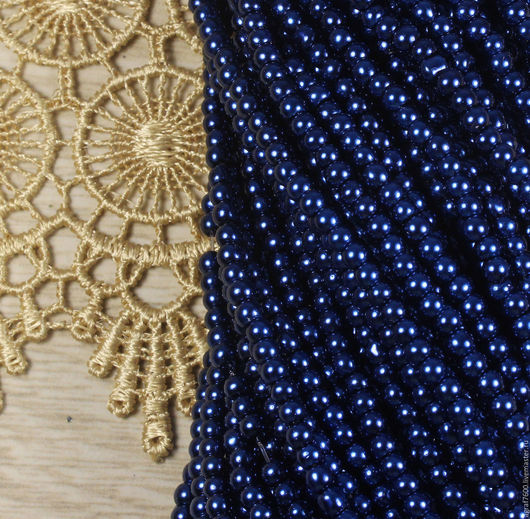 Для украшений ручной работы. Ярмарка Мастеров - ручная работа. Купить Жемчуг стеклянный 3 мм Темно-синий. Handmade.
