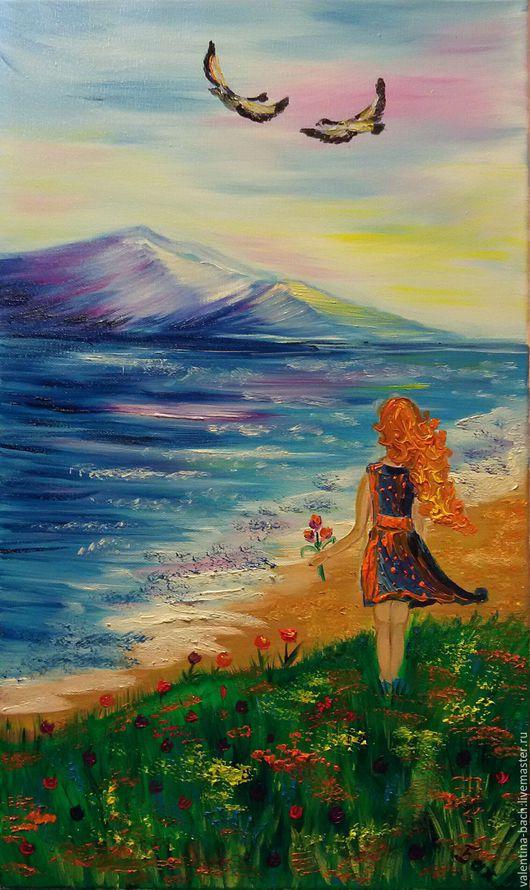 Пейзаж ручной работы. Ярмарка Мастеров - ручная работа. Купить Девушка с рыжими волосами или Мечты о лете.. Handmade. Комбинированный